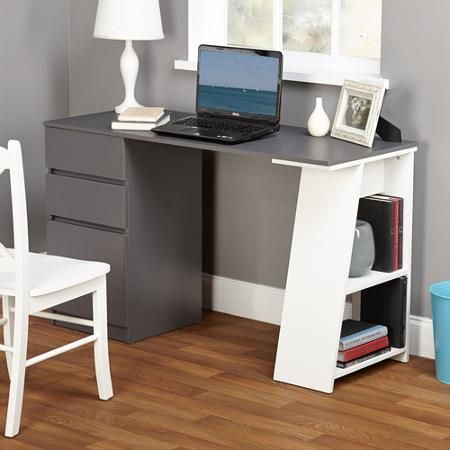 Walmart 125 Como Writing Desk Grey White Writing Desk Modern Writing Desk With Drawers Home Office Computer Desk