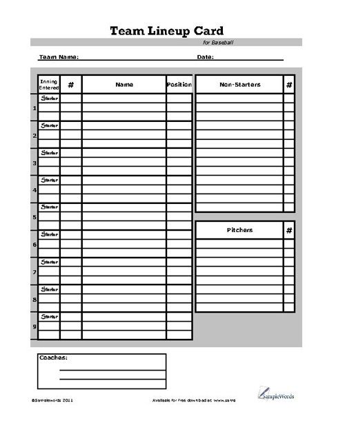Baseball Lineup Card Baseball Card Template Baseball Lineup Card Templates