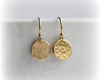 Hammered Gold Disc Earrings Jewelry Tiny Uk Minimalist Dangle Gift For Her Blissaria