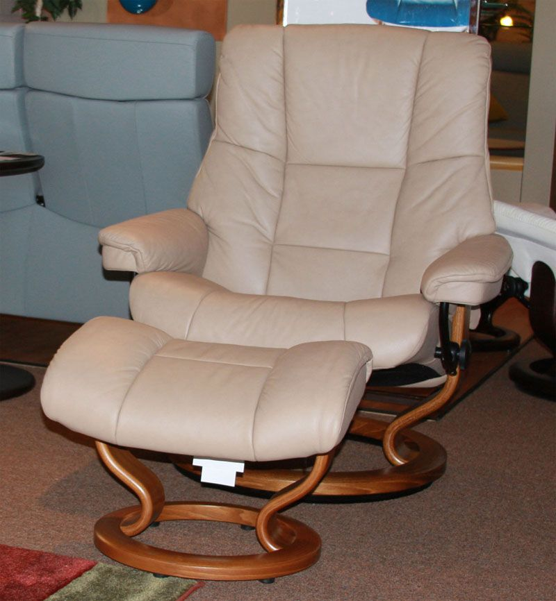 Stressless Mayfair Paloma Sand Leather Recliner Chair And Ottoman By Ekornes
