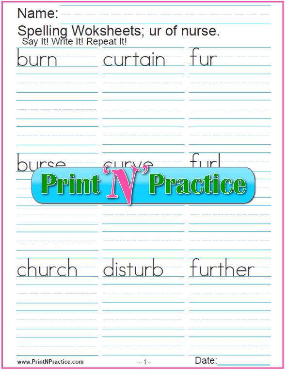 IR ER UR Worksheets Practice Phonics Words | Pinterest