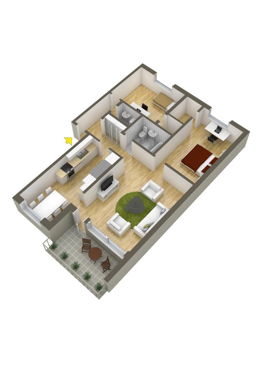 Dise o departamento dos dormitorios planos construye hogar for Construye tu casa en 3d
