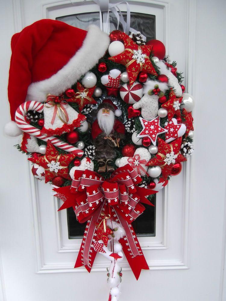 T rkranz weihnachtskranz weihnachtsdeko rot wei tilda art ebay shabby weihnachten - Weihnachtsdeko rot ...