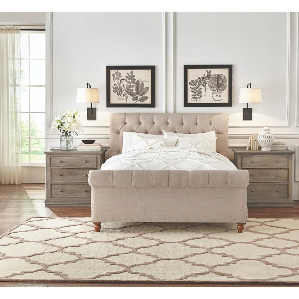Home Decorators Collection Gordon King Size Bed In Natural Linen 2309805400 Bedroom Furniture Sleigh Beds Neutral Bedroom Decor