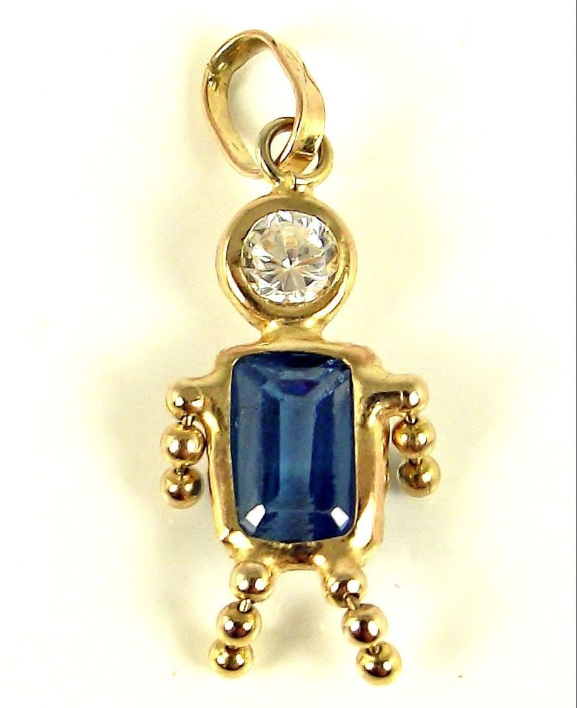 Estate 10k Gold Blue Crystal September Birthstone Boy Kid Baby Charm Italy Italy Traditional Springboro Coin And Jewelry Ebay Store Blue Crystals Births