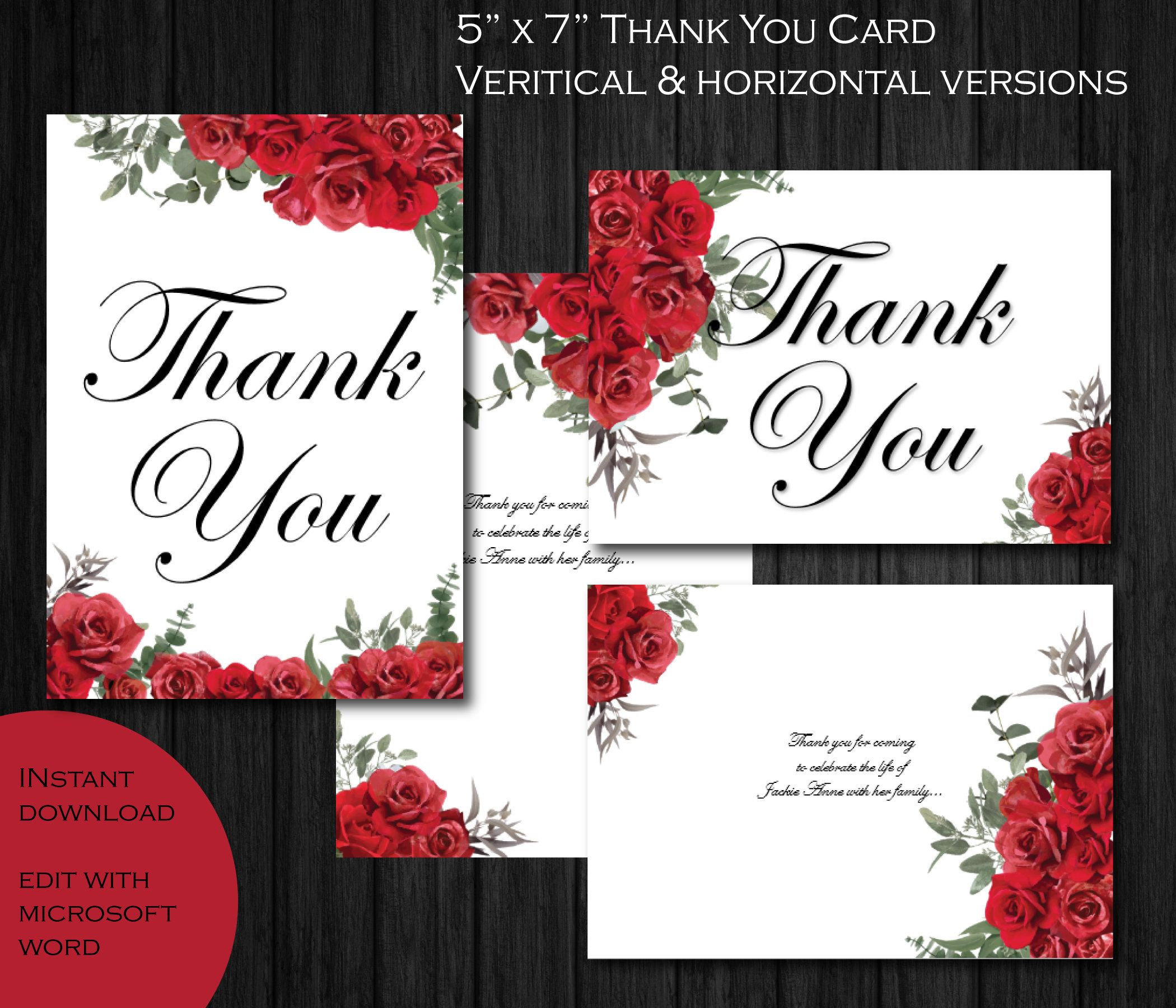 Printable Funeral Thank You Card 5x7 Memorial Thank You Etsy Funeral Thank You Cards Thank You Card Template Funeral Thank You