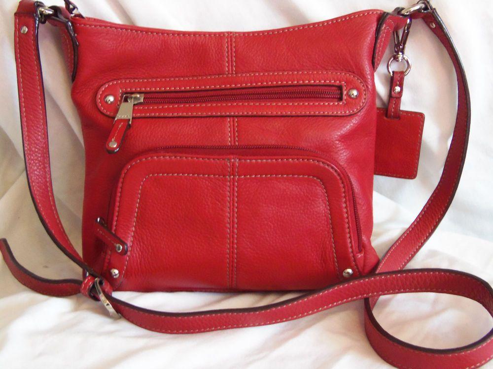 Tignanello Crossbody Organizer Handbag Red Pebbled Leather Medium Size Messengercrossbody