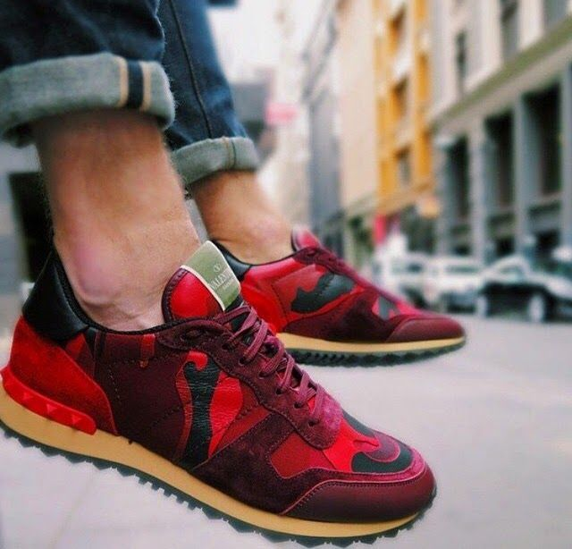 VALENTINO Men's Sneakers in Red, Burgundy & Black Camouflage | Givenchy,  Saint Laurent,