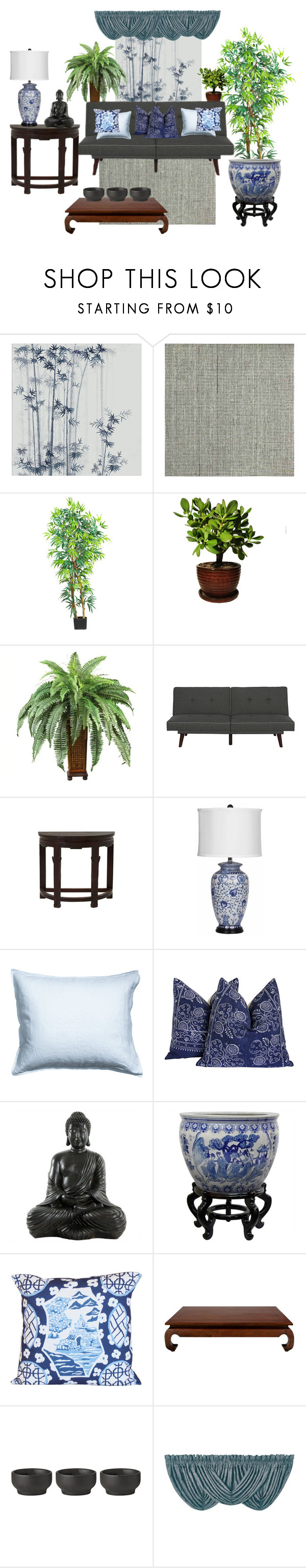 """asian decor"" by artgazzm on Polyvore featuring interior, interiors, interior design, Zuhause, home decor, interior decorating, Misha, Nearly Natural, Dorel Asia und Jayson Home"