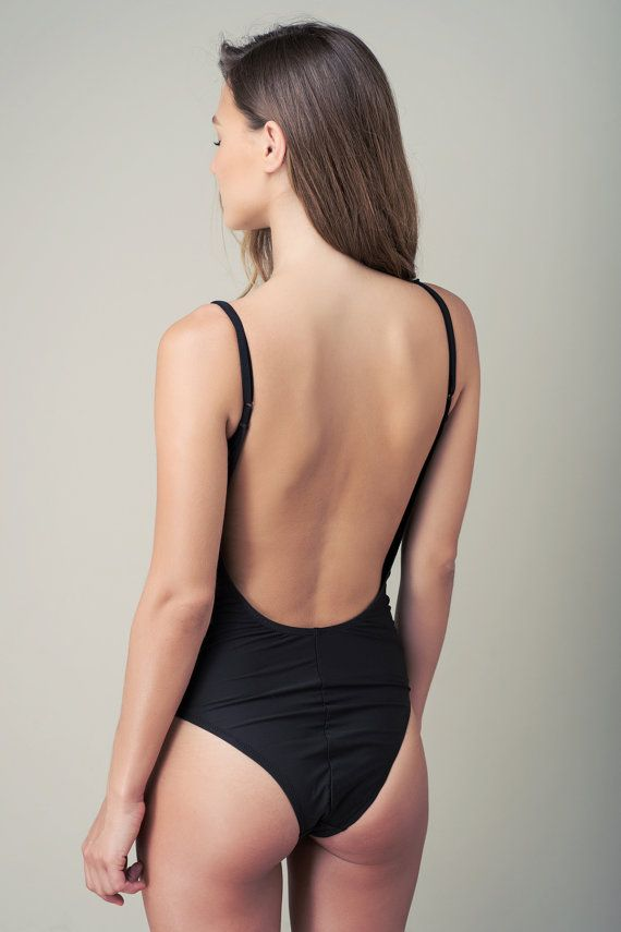 c468a91097f0d Black one piece swimsuit - open back swimsuit   Hellosunshine ...