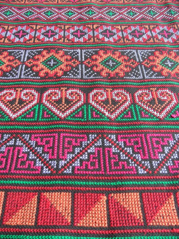 Geometry Embroidery Fabric Karen And Hmong Fabric Tribal Design