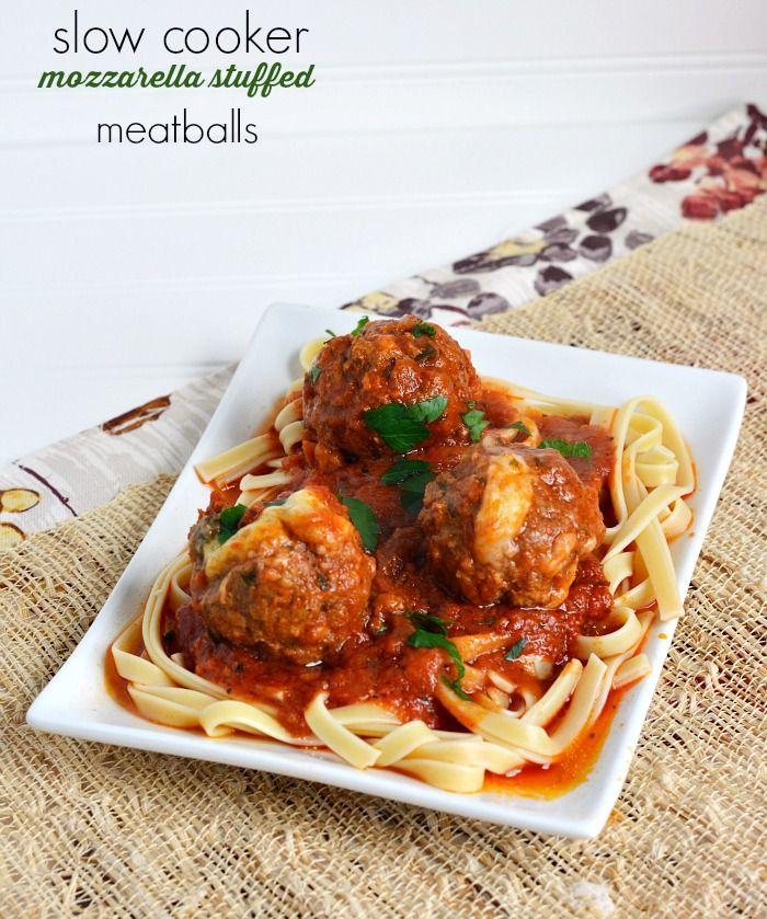 Slow Cooker Mozzarella Stuffed Meatballs Recipe (ad) #Ragu