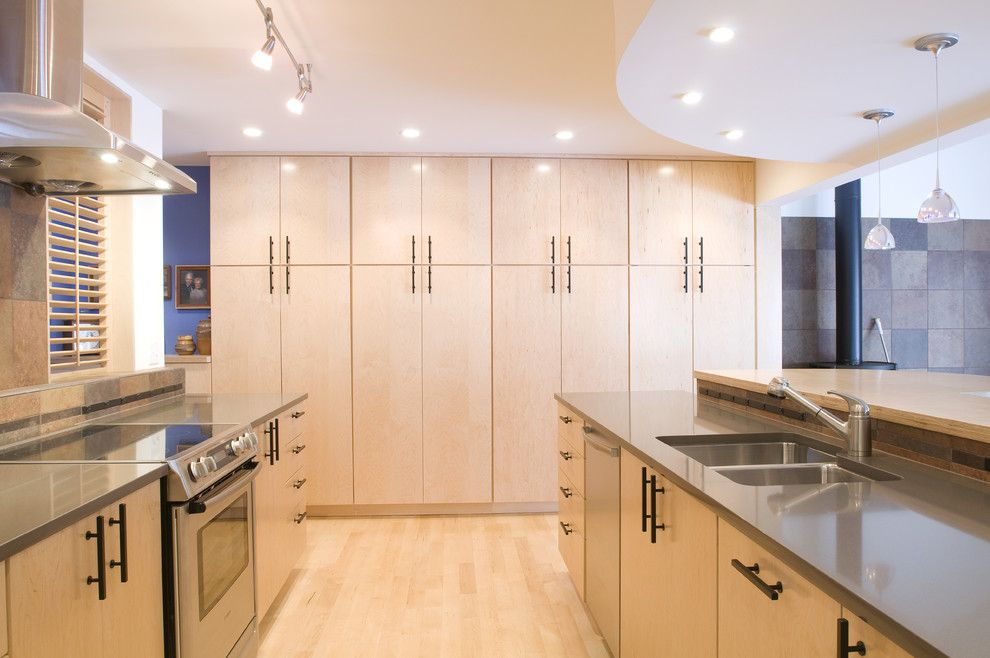 White Uniform Flat Panel Glass Cabinets Line Up The Walls Of This Kitchen Floor To Ceiling Cabinets Cheap Kitchen Cabinets Birch Kitchen Cabinets