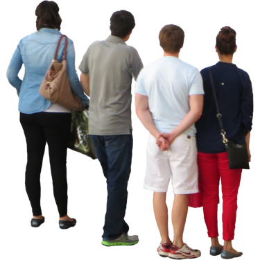 Group Of Four Looking Over Bridge Drawing People People Png People Cutout