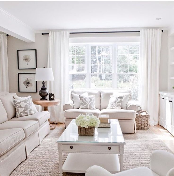 Light And Airy Living Room Design Big Windows Neutral Couches And Curtains Love The Basket Ne Beige Living Rooms Bright Living Room Monochromatic Living Room