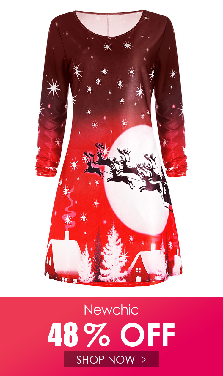 Print Crew Neck Long Sleeve Christmas Dress Christmas Dress Dresses Long Sleeve [ 1266 x 750 Pixel ]