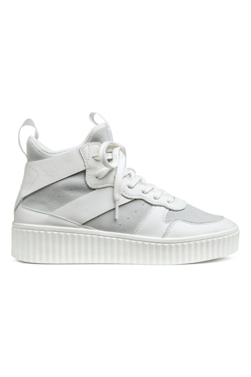 e44ca0deea Leather and Suede High Tops | White | WOMEN | H&M US | new clothes ...
