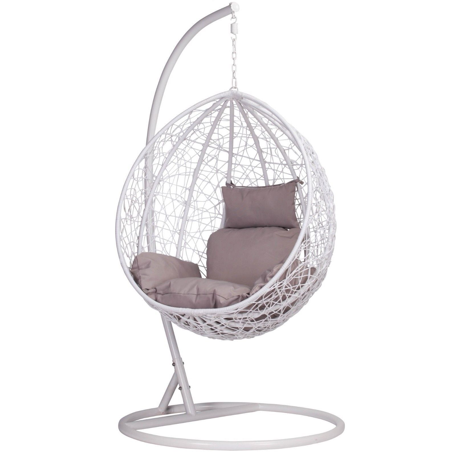 White Rattan Swing Weave Patio Garden Hanging Egg Chair in