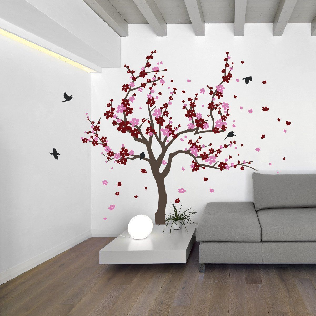 Japanese Cherry Blossom Tree And Birds Wall Decal Sticker For Flower Baby Nursery Room Decor Art Burgund Tree Wall Decal Japanese Cherry Tree Tree Wall Murals