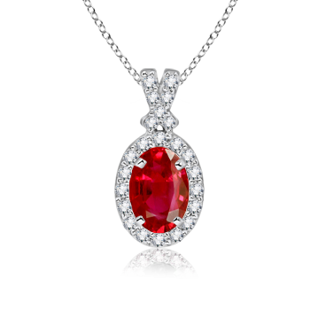 Angara Floating Oval Solitaire Sapphire Pendant with Diamonds SzVkFb9
