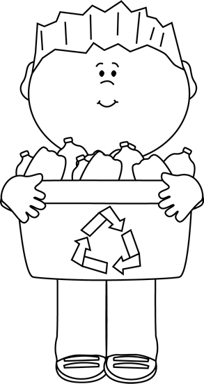 black and white boy carrying a recycle bin clip art