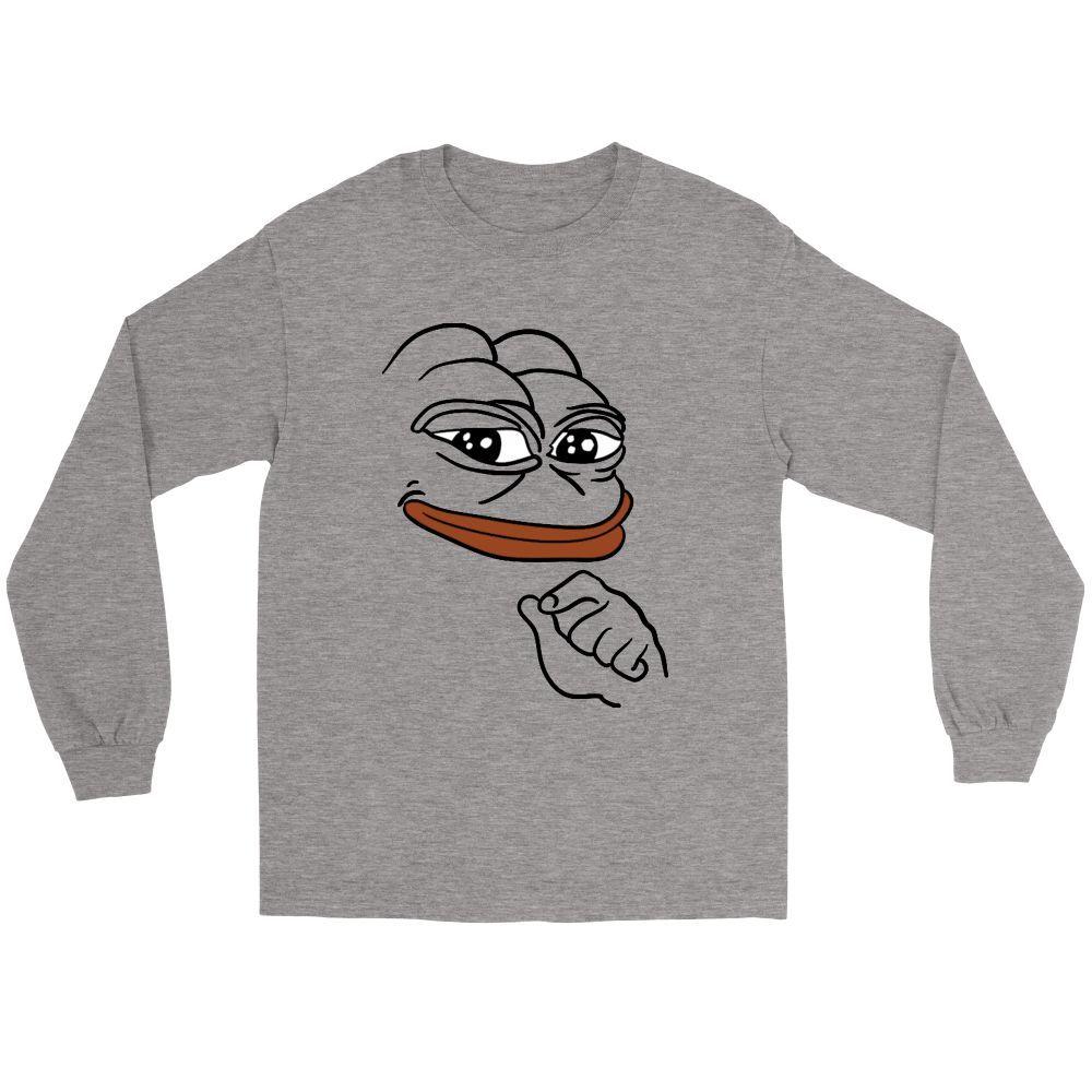 Gildan long sleeve tee smug pepe the frog meme tshirt frog meme