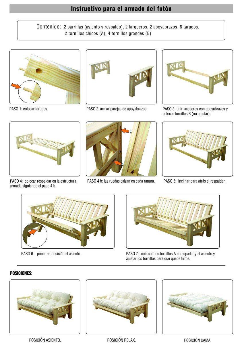 Futon cuerpos con colchon d nq np 17733 mla20142796975 for Planos de muebles de madera pdf