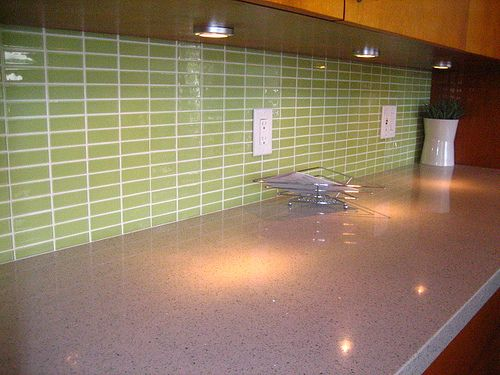 D I Y Saturday 11 Installing A Glass Tile Backsplash Subway Tile Backsplash Green Kitchen