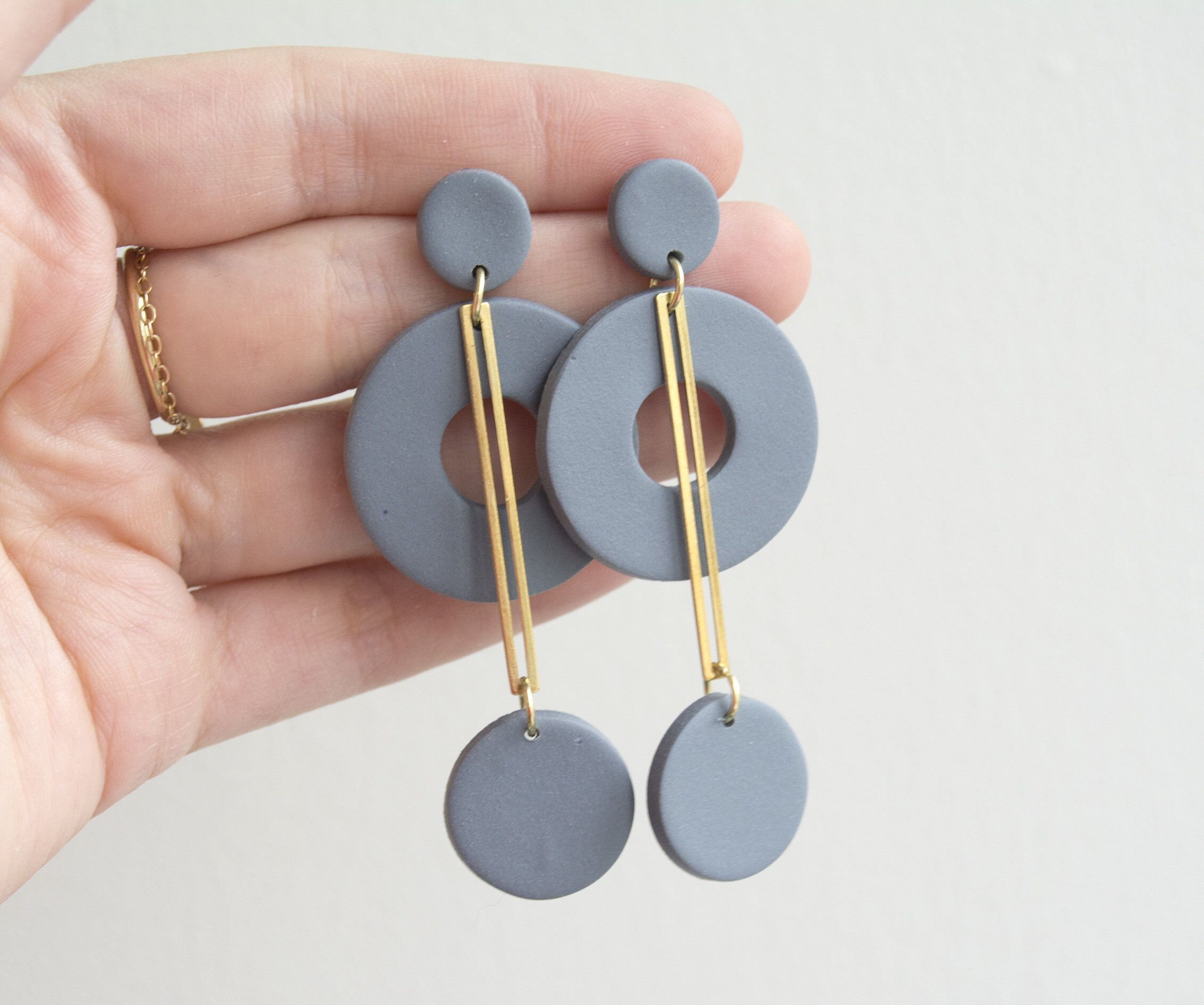 handmade polymer clay statement dangle earring Jenni Earrings 1