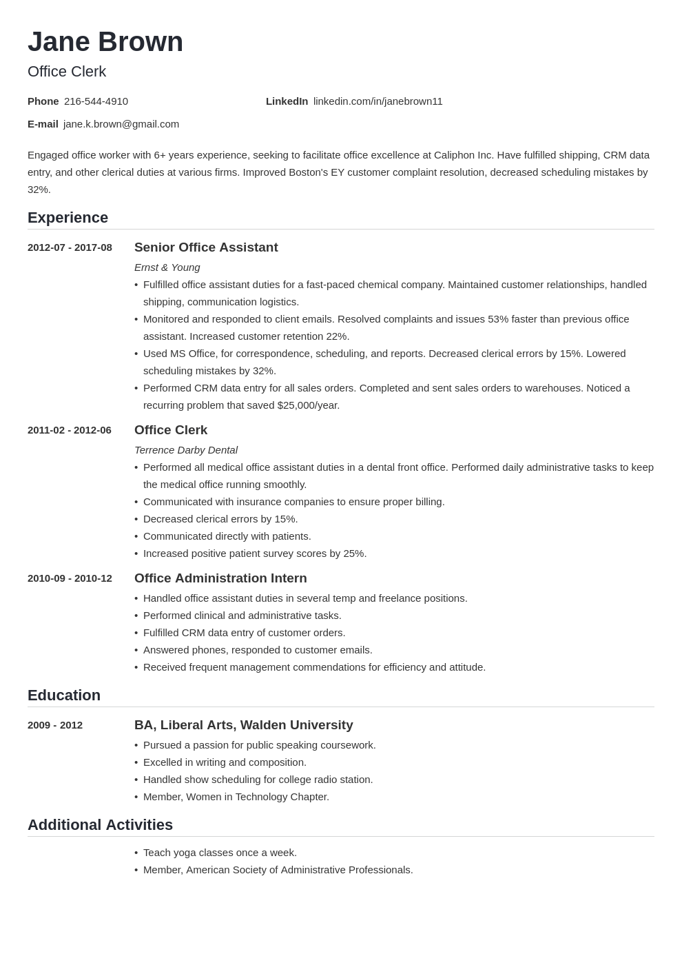 office clerk resume example template nanica in 2020 Job