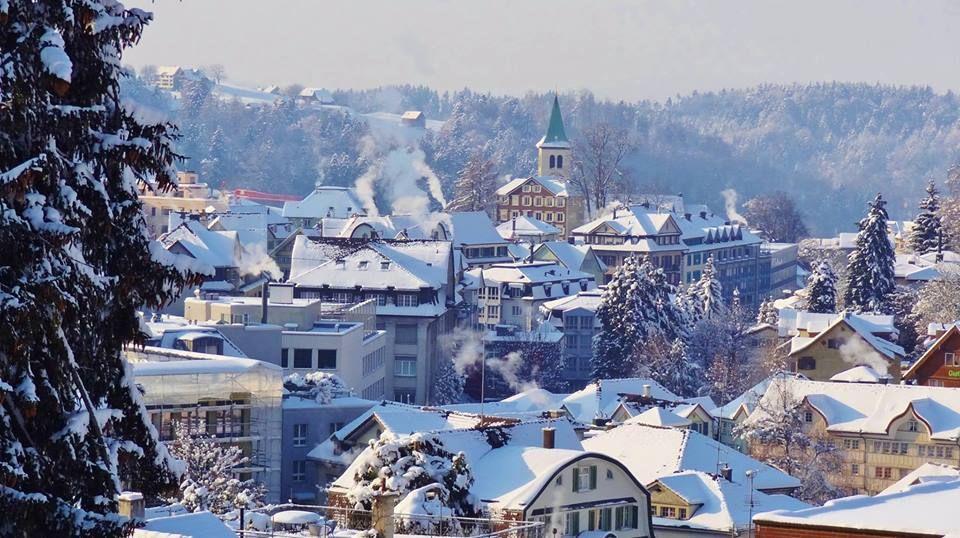 Winter Arrives In Herisau Appenzell Switzerland