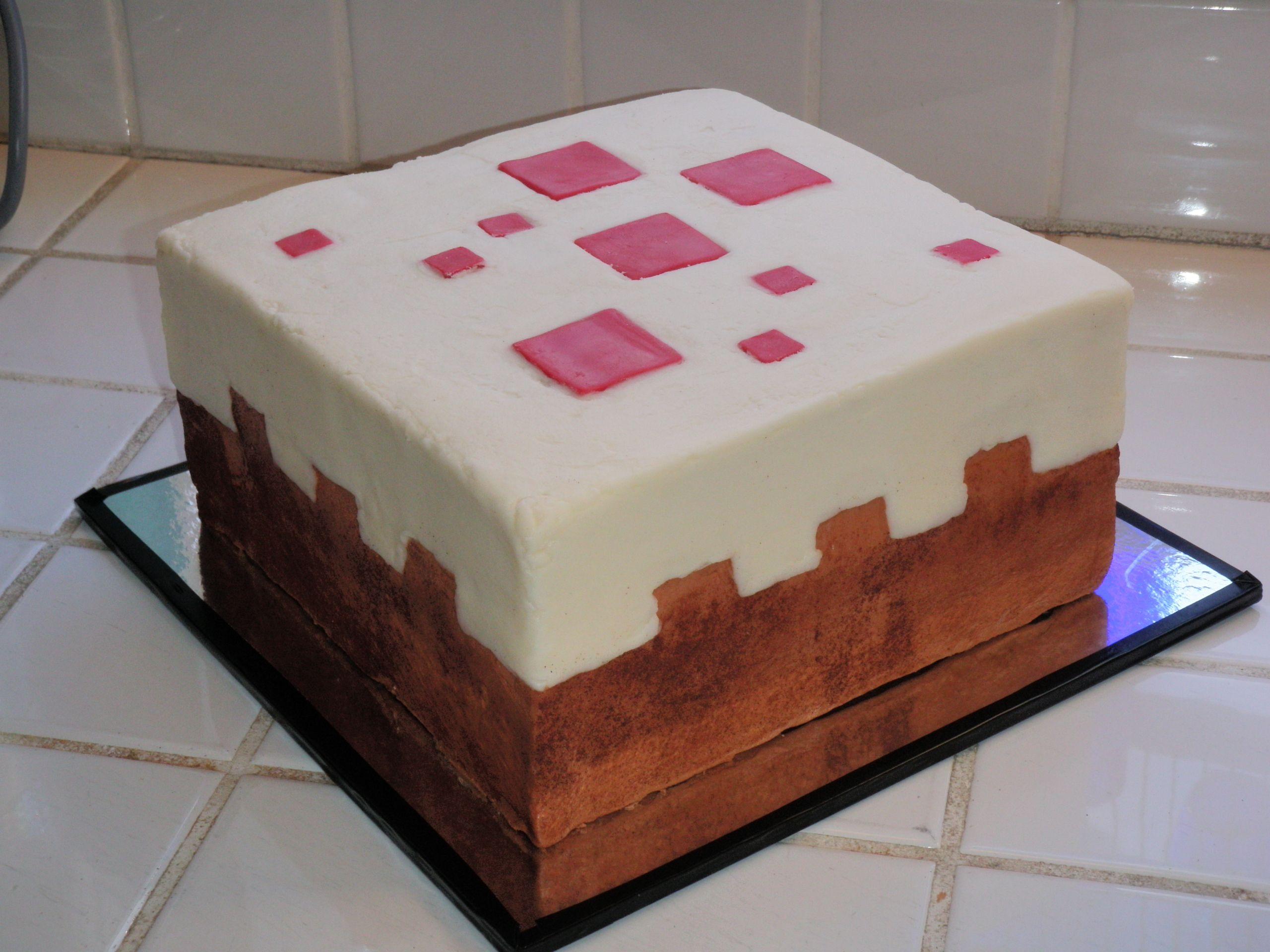 Minecraft Cake Block Cake Minecraft Birthday Cake Minecraft