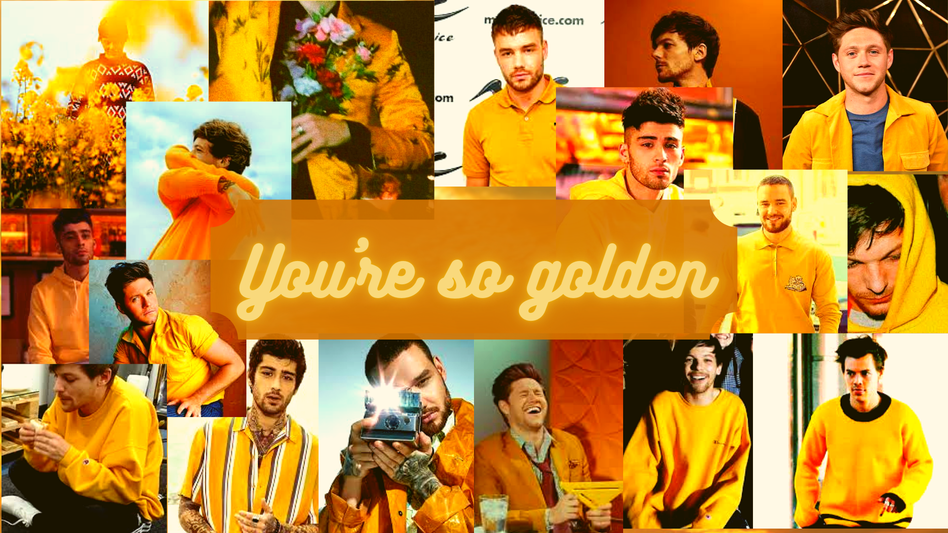 One Direction Golden Aesthetic Laptop Wallpaper One Direction Wallpaper Harry Styles Wallpaper