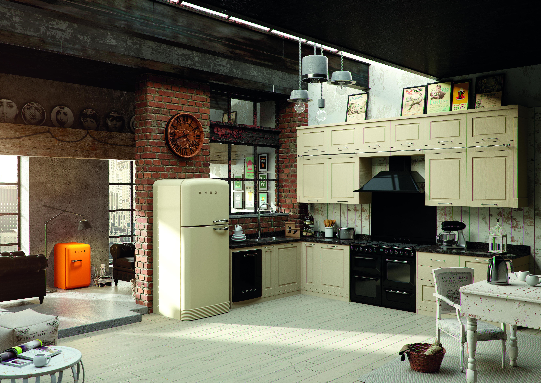Smeg Kühlschrank Victoria : Kücheneinrichtung mit hausgeräten vom smeg im 50s style und
