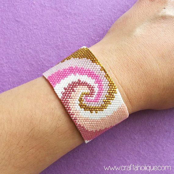 Peyote Beading Pattern for Pink Gold & White Beaded Bracelet