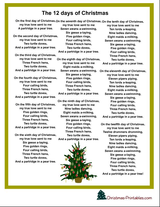 the 12 days of christmas carol printable