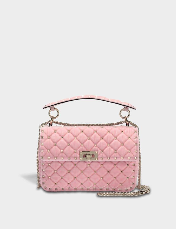 7e06fd313d Valentino Rockstud Spike Medium Shoulder Bag in Water Rose Velvet ...