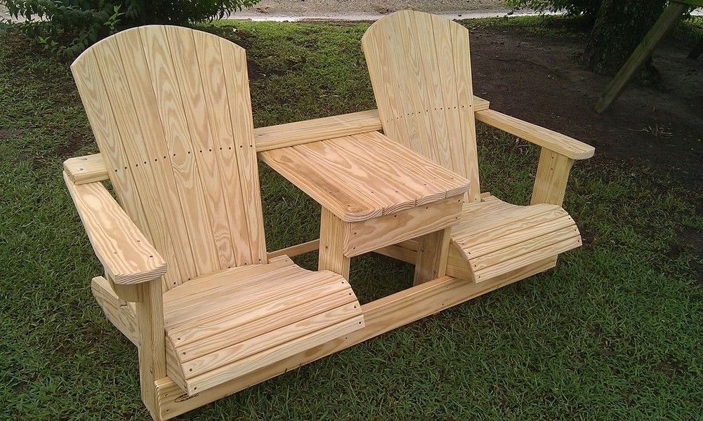 Double adirondack chair made by my 22 year old grandson for Adirondack swing bench plans