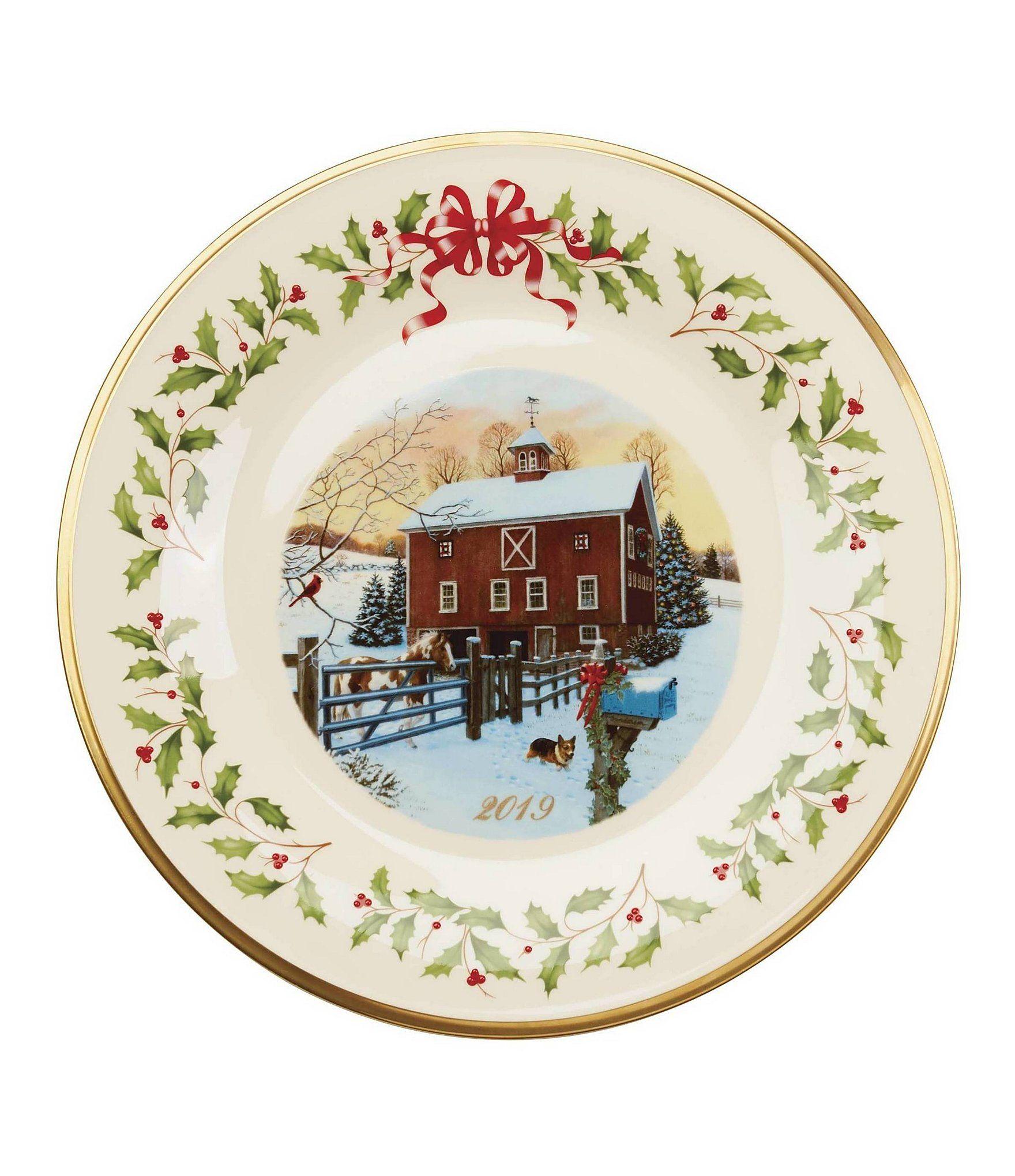 Lenox 2019 Holiday Annual Barn Scene Plate Ivory N A Holiday Dinnerware Plates Decorative Plates