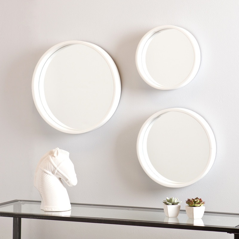 Holly Martin Daws Wall Mirror 3pc Set White Two S A Crowd But Three S Company With This Set The Daws Mirrors Add Function And Style To You Wall Mirrors Set