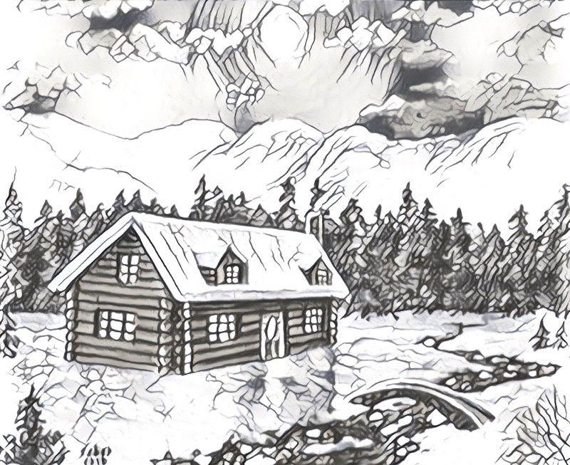 Dibujos para colorear para adultos Chalé bajo la nieve | Paisajes ...