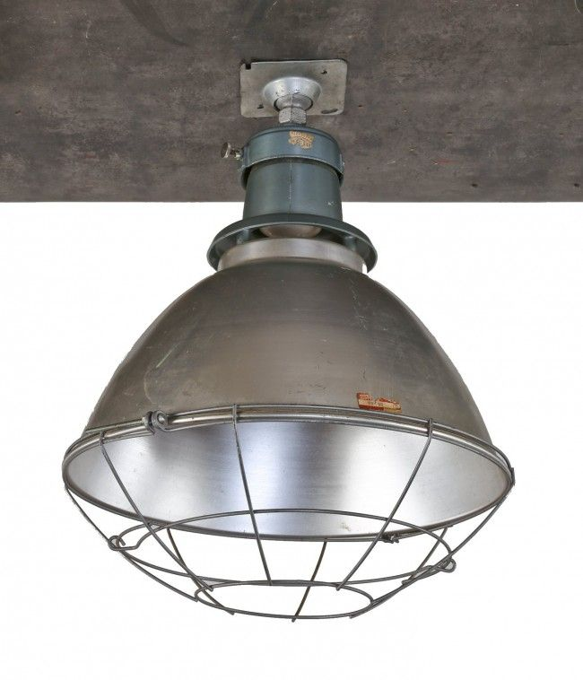 1950 S American Chicago Public School Gymnasium Deep Bowl Pendant Light With Protective Cage Steber Manufacturing Co Broadview Il Vintage