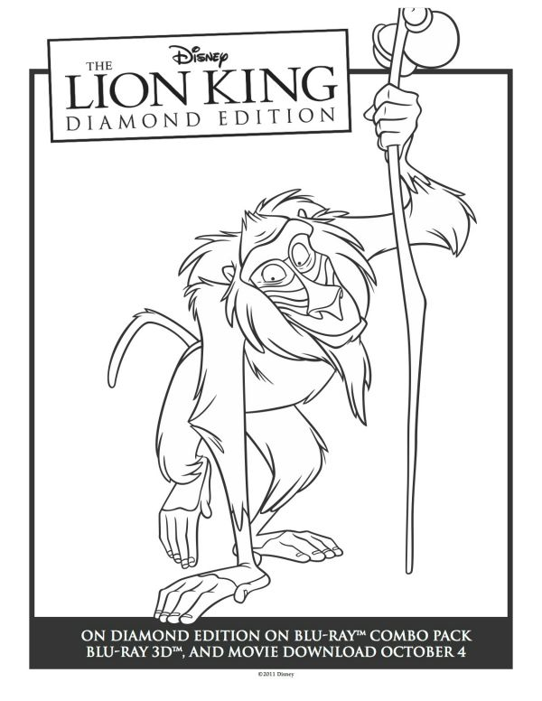 Printable Rafiki Lion King Coloring Sheet | Printable Coloring Pages ...