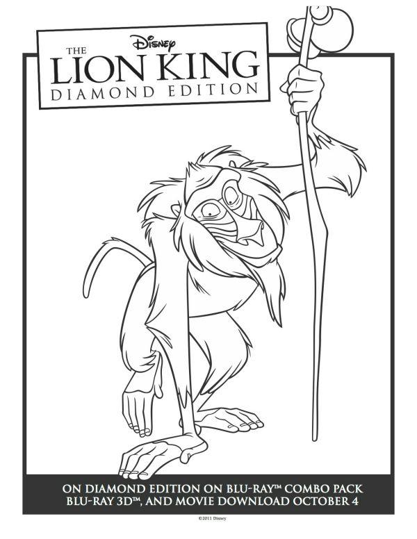 Printable Rafiki Lion King Coloring Sheet