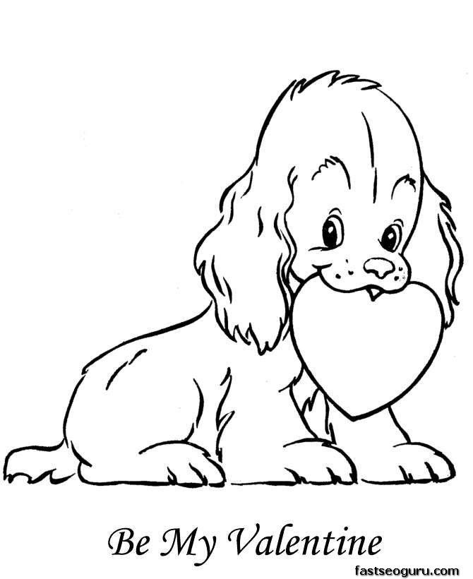 Dog With Heart Coloring Pages Printable For Kids Thingkid Com