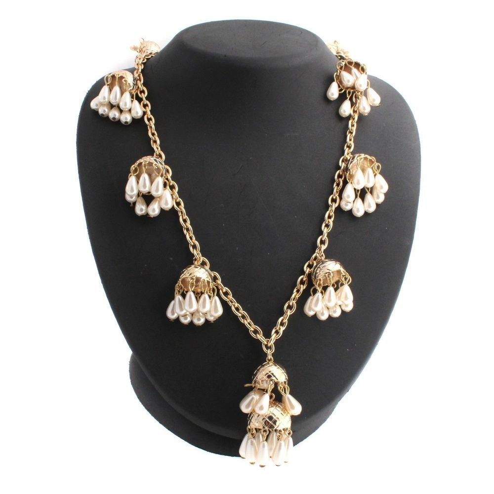 Fern Mallis Yellow Gold GP Simulated Pearl Cluster Drop
