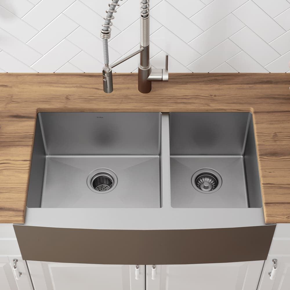 Kraus Khf20333 33 Inch Farmhouse 60 40 Double Bowl Kitchen Sink With 16 Gauge Stainless Steel Noisedefend Soundproofing And Commercial Grade Satin Finish Farmhouse Sink Kitchen Double Bowl Kitchen Sink Apron Sink Kitchen