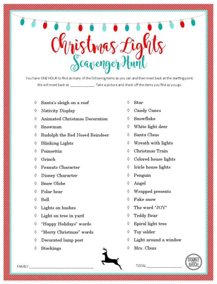 Christmas Light Scavenger Hunt FREE PRINTABLE LIST and - free printable christmas lists