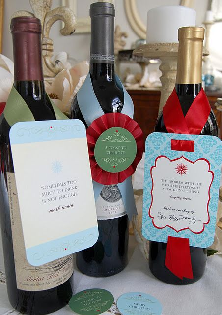 wine bottle tags--very elegant, with quotes on them