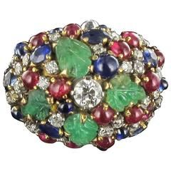 1960s French Tutti Frutti Ruby Sapphire Engraved Emerald Diamond Gold Ring